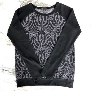 INC Lace Front Sateen Long Sleeve Sweater Top XS